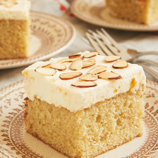 Brown Butter Almond Cake with Apricot Whipped Cream