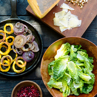 Green Salad with Almonds, Charred Onion, and Pomegranates