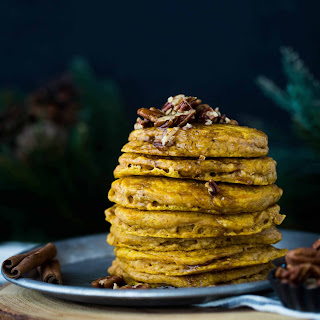 Pumpkin Pancakes with Cinnamon Brown Butter Pecan Syrup Recipe