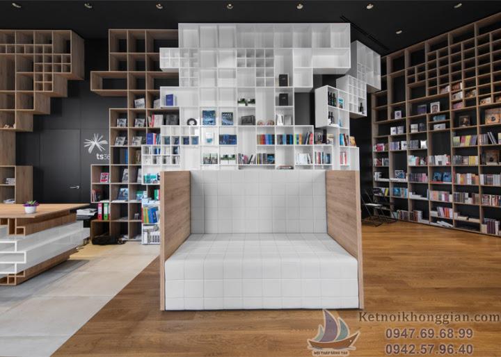 thiết kế nội thất nhà sách ấn tượng, thiết kế nhà sách hình hộp