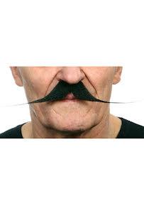 Spetsig mustasch, svart