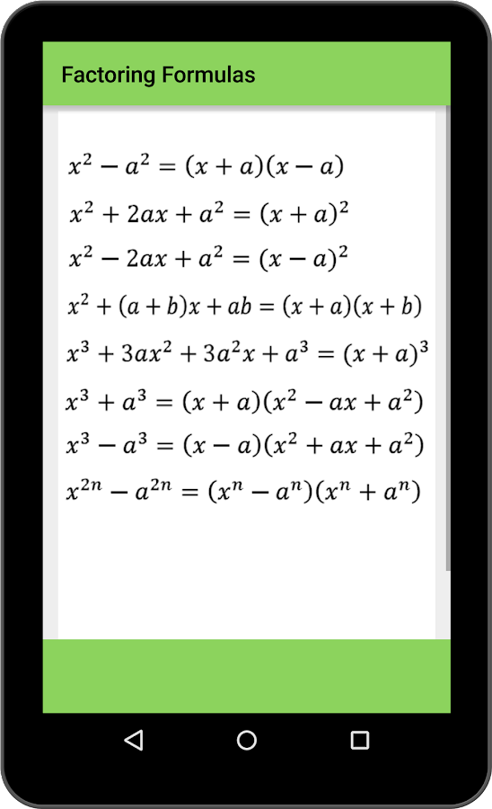 alzebric formulae chart: Maths algebra formula android apps on google play