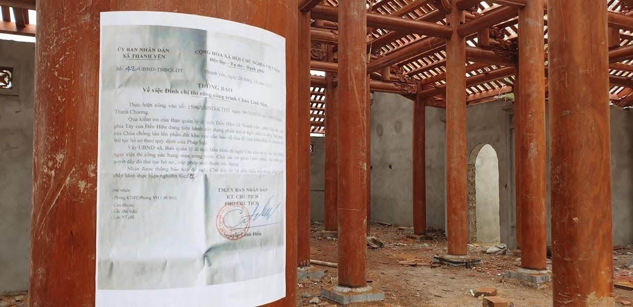 Thông báo tạm dừng hoạt động thi công công trình của UBND xã Thanh Yên.
