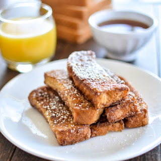 Pumpkin Spice and Buttermilk French Toast Sticks with Apple Cider Maple Syrup