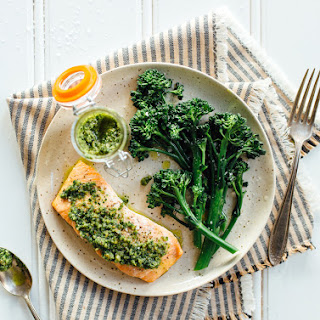 Baked Salmon with Pesto and Broccolini.