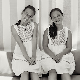 Happy girls by Edina Zsarnai - Babies & Children Child Portraits ( lovely, happy, black, girls, sisters, summer, edina zsarnai, smile, beautiful, face, white, time, day, photography,  )