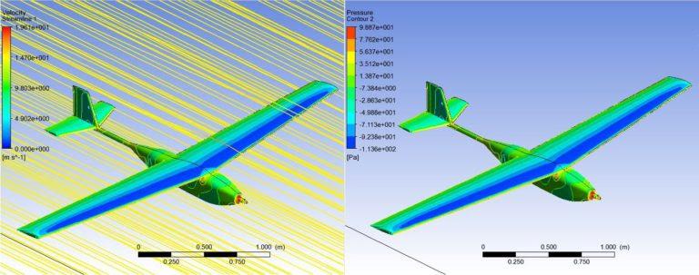 ANSYS | Линии тока с отображением скорости воздушного потока (слева) и распределение давлений (справа), полученные в ANSYS Fluent