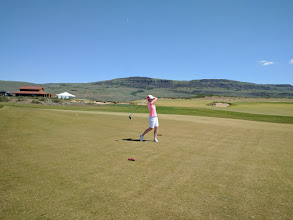 Photo: Vicky at Gamble Sands 1st Tee