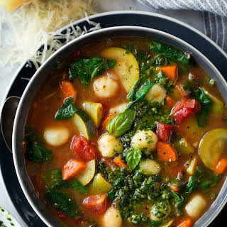 Gnocchi Vegetable Soup with Pesto and Parmesan.