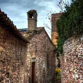 Tight Squeeze by Darin Williams - City,  Street & Park  Neighborhoods ( clouds, masonry, walking path, umbria, sky, stones, italy, assisi, chimney )