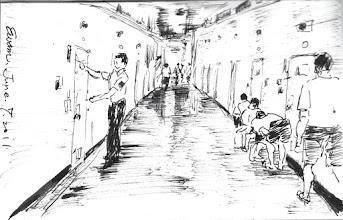 Photo: 開封2011.06.07鋼筆 現行監獄只有「開封」一詞,而無民間所稱之「放風」,系指收容人逐房開出,一隊隊依序進到工場,開始一天的工作。