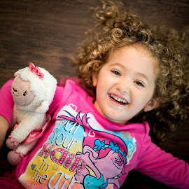 Hair Up by Mike DeMicco - Babies & Children Child Portraits ( wild, cute, pretty, trolls, up, kid, child, curly, girl, sweet, floor, above, pink, hair )