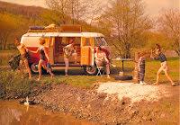 Campingbuss på utflykt