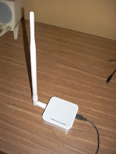Photo: A TP-Link TL-MR3020 wifi hotspot set up as low-cost indoor WasabiNet repeater.