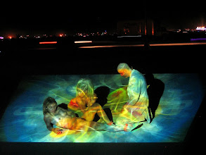 Photo: Dreams in High Fidelity by Scott Draves, projected at Camp Disorient, Burning Man (Black Rock City, NV), 2007.