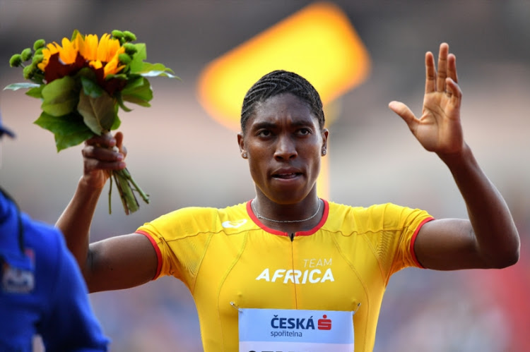 Caster Semenya of Team Africa celebrates victory following the Womens 800 Metres during day two of the IAAF Continental Cup at Mestsky Stadium on September 9, 2018 in Ostrava, Czech Republic.