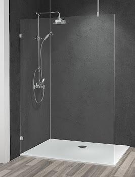 Duschwand Walk In in Nische oder als alleinstehende Seitenwand mit Deckenstrebe