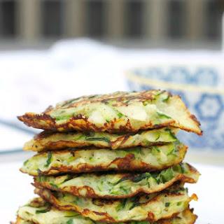 Zucchini Scallion Pancakes with Cucumber Yogurt Dip