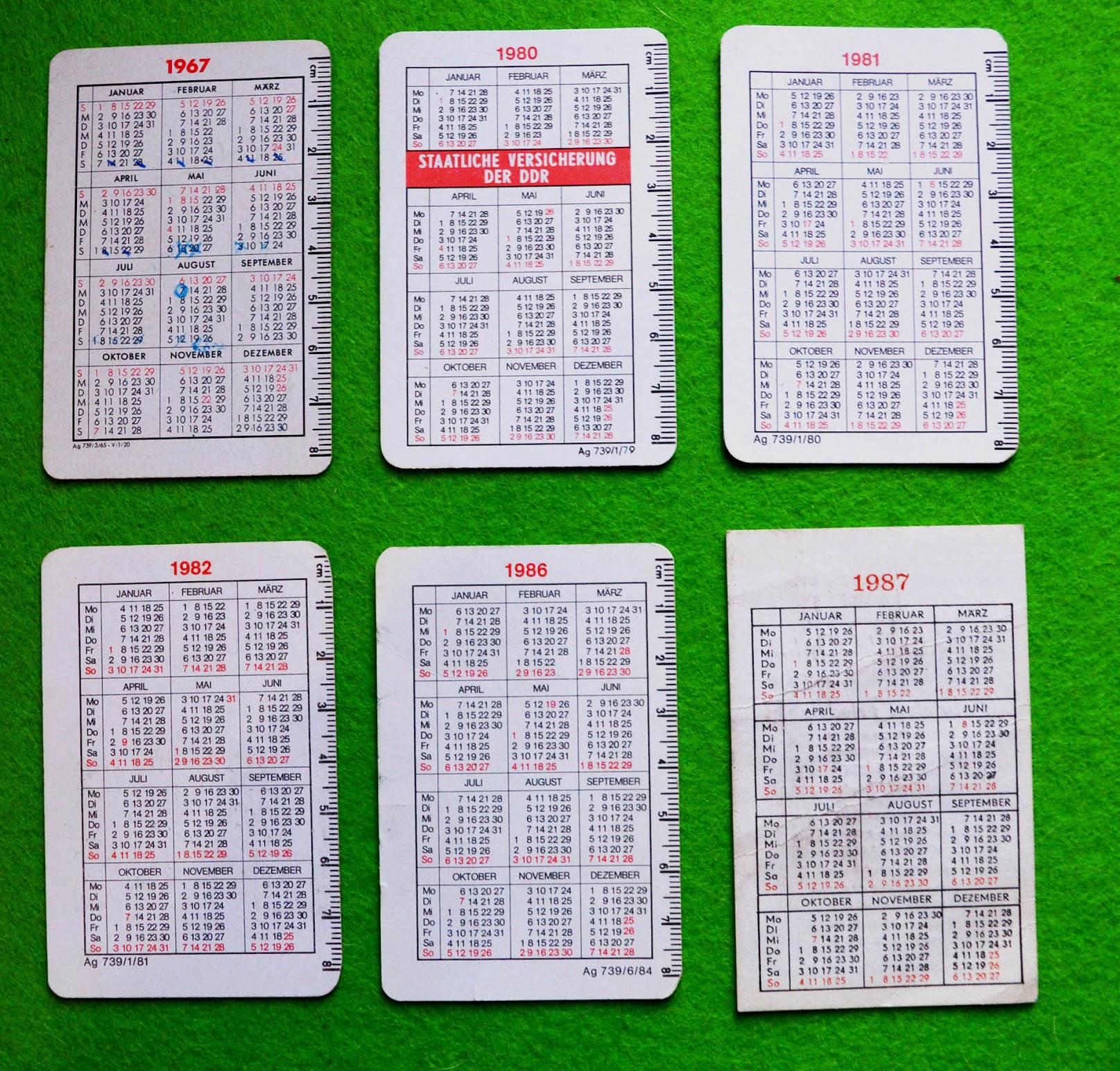 Taschenkalender 1967 1980 1981 1982 1986 1987