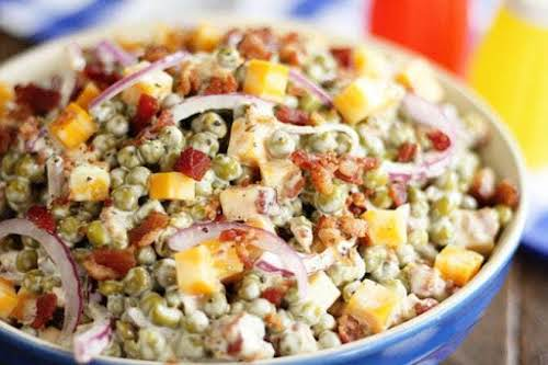 "Bacon and Pea Summer Salad ""Nothing says summer like an outdoor BBQ..."