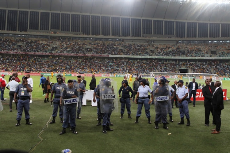 Crowd violence during the Nedbank Cup Semi Final match between Kaizer Chiefs and Free State Stars at Moses Mabhida Stadium on April 21, 2018 in Durban, South Africa.