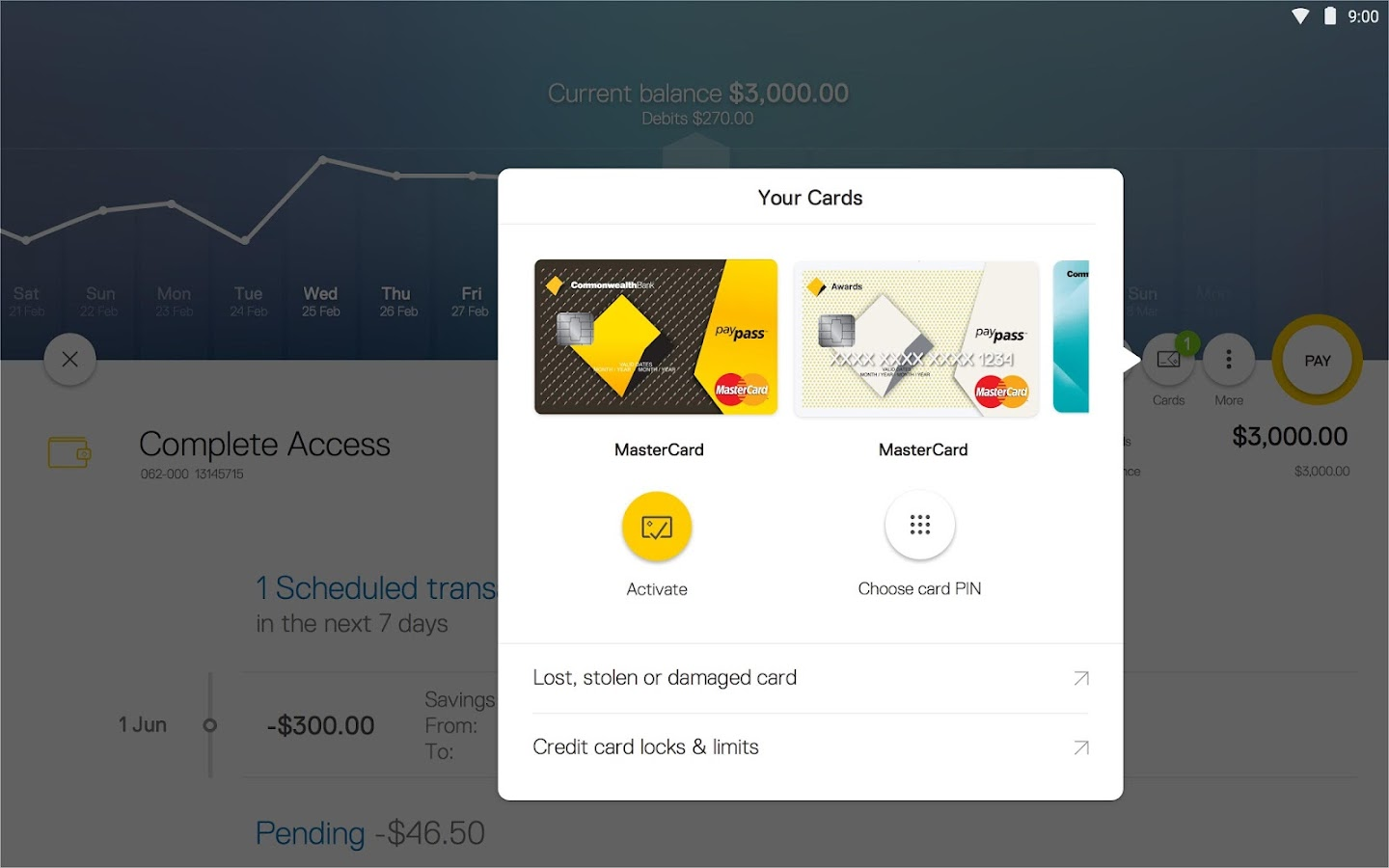 CommBank app for tablet- screenshot
