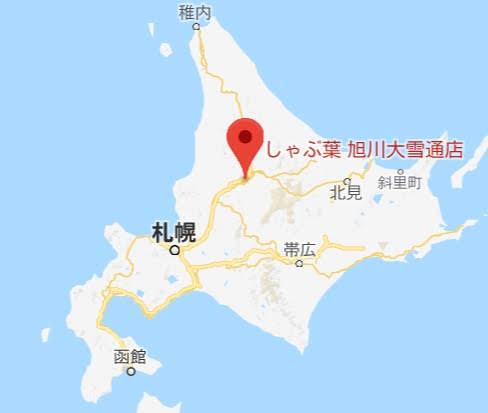 地図:しゃぶ葉旭川大雪通店