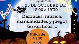 Cartel del Taller Halloween en Mortimer English Club Almería.