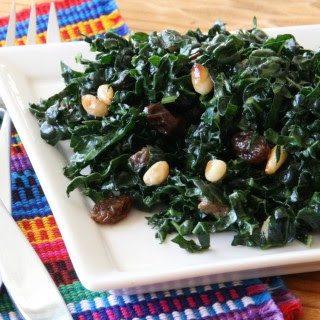 Raw Kale Salad with Raisins and Pine Nuts