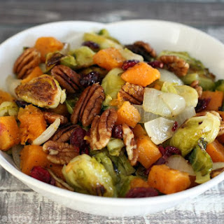 Roasted Brussels Sprouts and Butternut Squash With Cranberries.