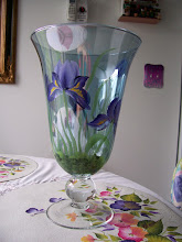 Photo: Hand made glass vase. Hand painted. $49.50