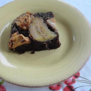 Chocolate PBJ Banana Upside down Dump Cake.