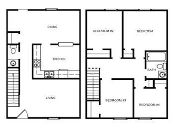 Go to Four Bedroom Townhouse Floorplan page.