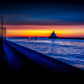 Morning Neon by Glen Sande - Landscapes Travel ( mn, duluth, lighthouses, canal park, pier, fishing, sunrise, morning, canal )