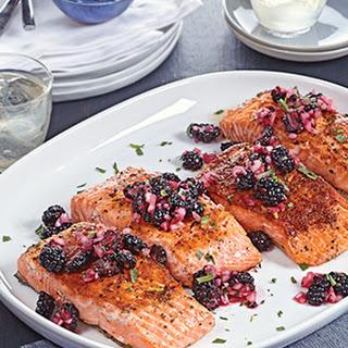 Crispy Brined Salmon with Blackberry Relish Recipe
