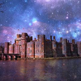 Herstmonceux Castle skylline fantasy by Fiona Etkin - Digital Art Places ( fantasy, stars, digital art, night, castle, architecture, manipulation,  )