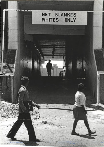A sign during apartheid.