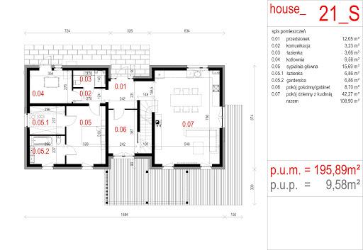 House 21 - Rzut parteru - wersja z sypialnią
