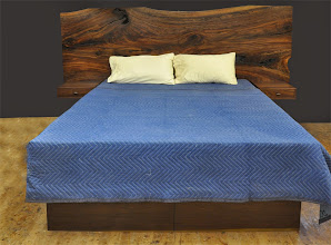 Photo: a walnut slab queen size bed http://dorsetcustomfurniture.blogspot.com/2014/11/a-claro-walnut-slab-headboard-bed.html