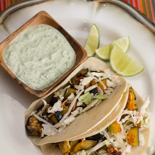 Roasted Kabocha and Eggplant Tacos with Poblano Crema.