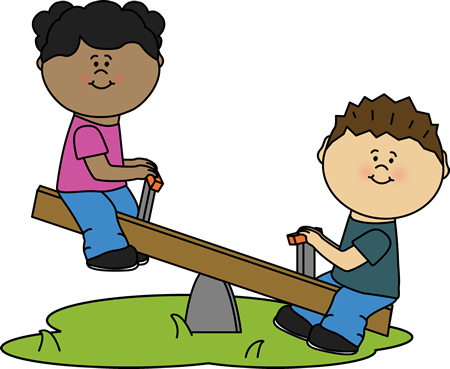 Image of children playing on seesaw