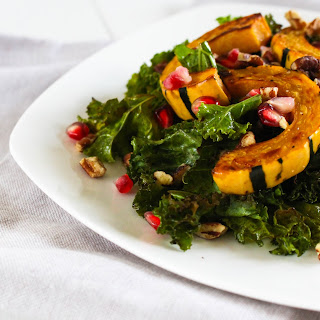 Warm Kale Salad with Delicata Squash and Pomegranate