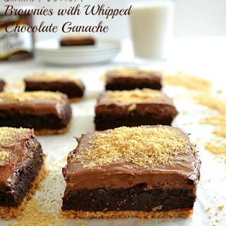 Graham-Bottom Brownies With Whipped Chocolate Ganache.