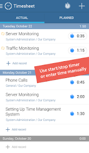 actiTIME Mobile Timesheet - náhled