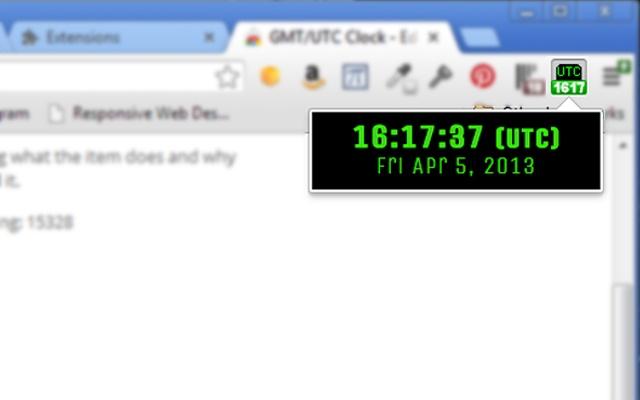GMT/UTC Clock chrome extension