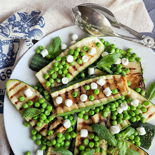 Grilled Spring Zucchini with Peas, Lemon and Feta. Recipe