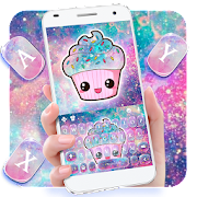 Galaxy Hot Pink Cupcake Keyboard Theme