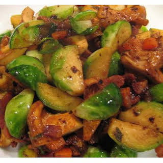 Bacon Brussels Sprouts With Chanterelle Mushrooms.