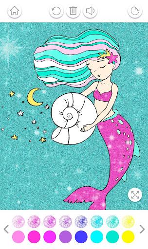 PC u7528 Mermaid Coloring Book Glitter 2
