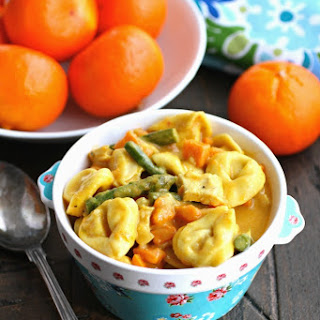 Curried Vegetable & Chicken Tortellini Soup.